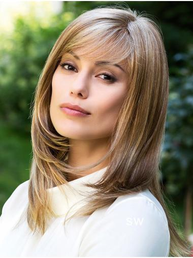 Straight Blonde 14 Inches With Bangs Cheap Monofilament Wigs
