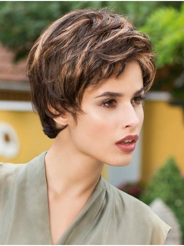 Straight Brown 8 Inches Boycuts Ladies Monofilament Wigs