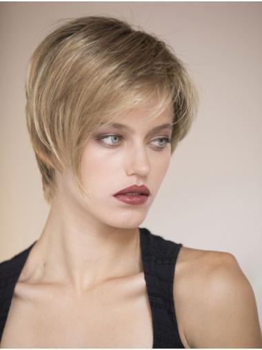 Boycuts Short Monofilament Straight Blonde Human Hair Wigs Full Wig