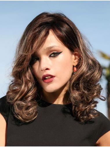 With Bangs Shoulder Length Monofilament Curly Brown 100% Human Hair