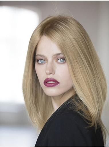Without Bangs Shoulder Length 100% Hand-tied Straight Blonde Remy Human Hair