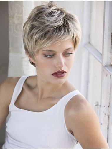 Boycuts Cropped 100% Hand-tied Wavy Blonde Human Hair Wigs Cheap