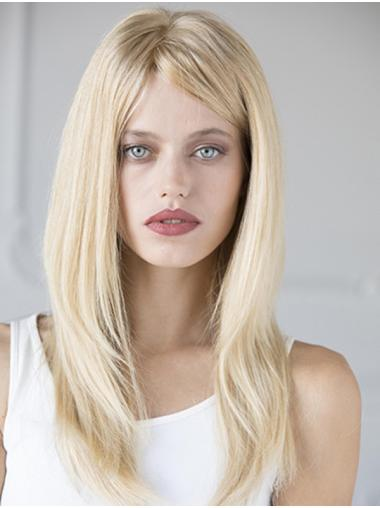 With Bangs Long 100% Hand-tied Straight Blonde Buy Human Hair Wig