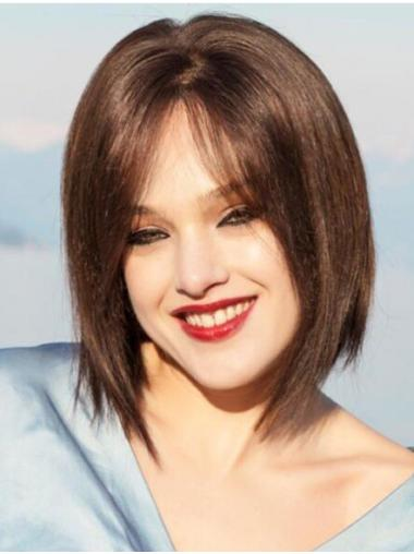 With Bangs Chin Length Monofilament Straight Brown Real Human Hair Wigs
