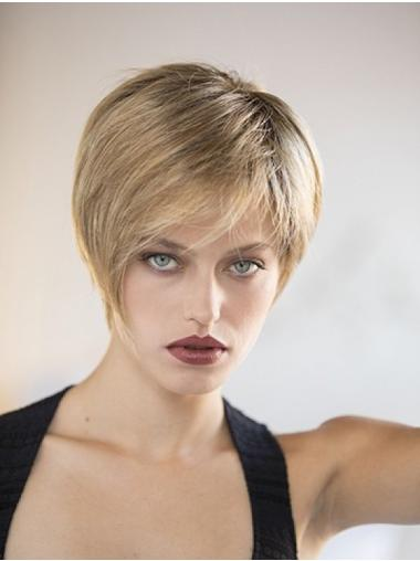 Straight Blonde 8 Inches Boycuts Mono Top Wig