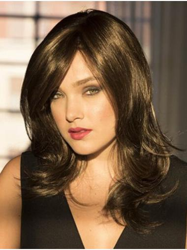 Wavy Brown 14 Inches With Bangs Monotop Wigs