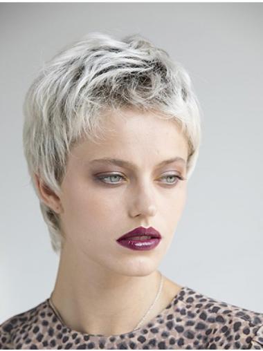 Straight Platinum Blonde 4 Inches Boycuts Monofilament Wig Sale
