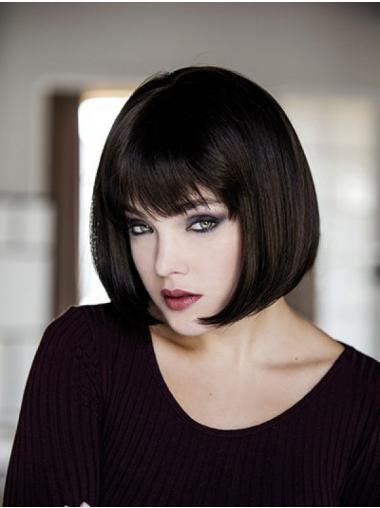 Black Monofilament 10 Inches Synthetic Bob Fashion Wigs