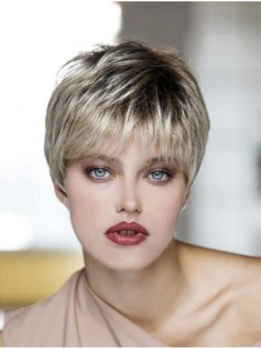 Blonde Synthetic Boycuts Straight Cropped Glueless Lace Front Wigs