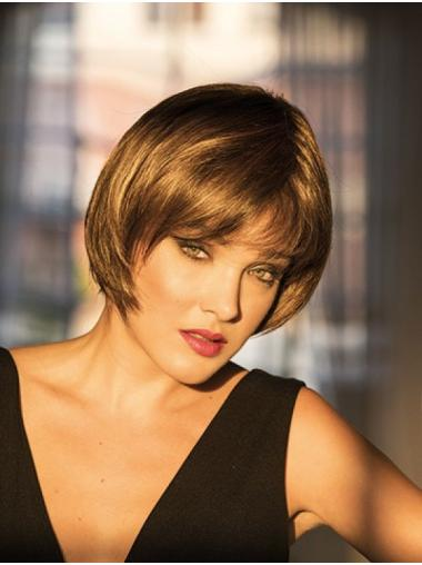 Brown Monofilament 8 Inches Synthetic Bob Wigs For Sale
