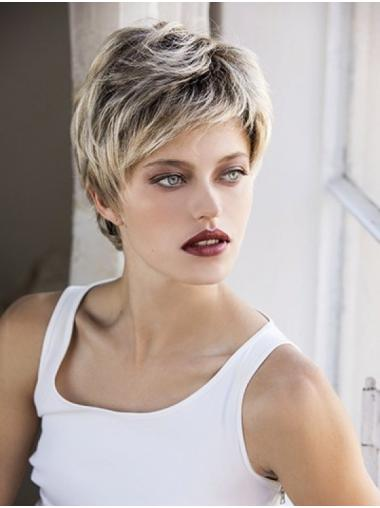 Blonde Synthetic Boycuts Wavy Short Custom Lace Front Wigs