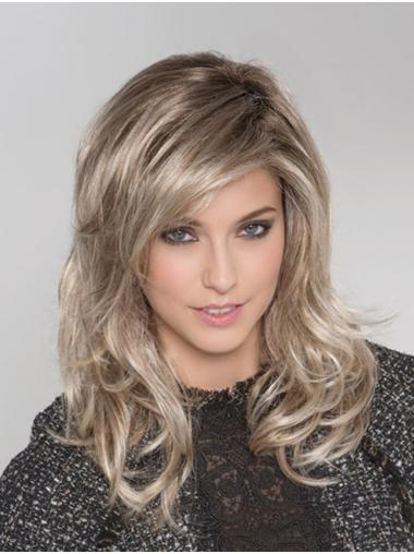 Monofilament Blonde Synthetic With Bangs Wavy Long Hair Wigs