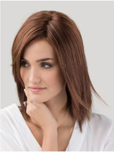 Monofilament Auburn Synthetic Without Bangs Straight Women Wig Medium