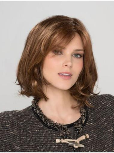 Auburn Synthetic Bobs Wavy Chin Length Lace Frontal Wig