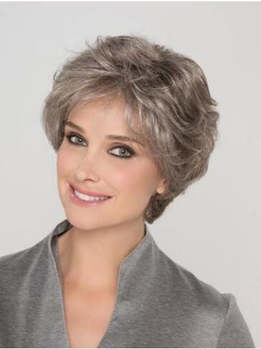 Capless Wavy 8 Inches Short Grey Wigs