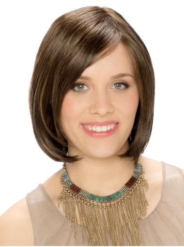 Brown 100% Hand-tied 10 Inches Synthetic Bob Style Ladies Wigs