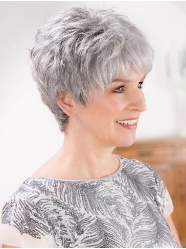 Lace Front Straight 8 Inches Short Grey Wig