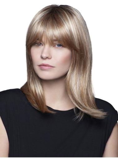 100% Hand-tied Blonde Synthetic With Bangs Straight Medium Wigs For Women