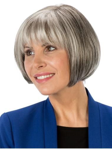 Monofilament Straight 8 Inches Short Ladies Grey Wigs