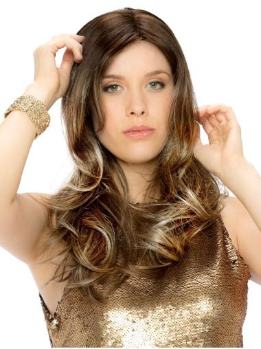 Monofilament Brown Synthetic Without Bangs Wavy Wigs Long