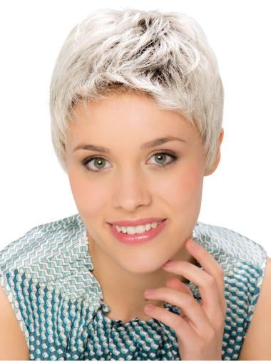 Monofilament Straight 6 Inches Cropped Grey Wigs For Women