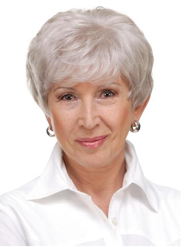 Monofilament Straight 6 Inches Cropped Grey Hair Wigs