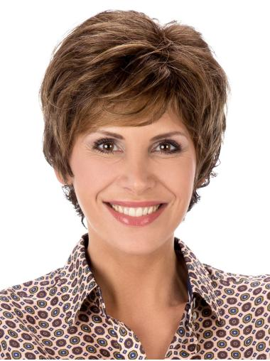 Capless Brown Boycuts 8 Inches Synthetic Ladies Wigs
