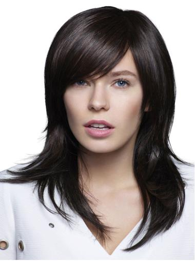 100% Hand-tied Black Synthetic With Bangs Straight Long Wigs For Women