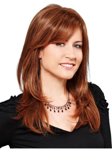 Monofilament Auburn Synthetic With Bangs Straight Ladies Long Wigs