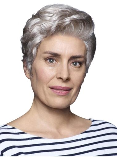 100% Hand-tied Wavy 6 Inches Cropped Ladies Grey Wigs