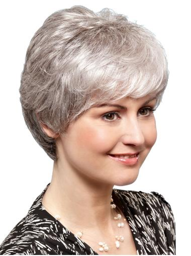 100% Hand-tied Straight 8 Inches Short Ladies Grey Wigs