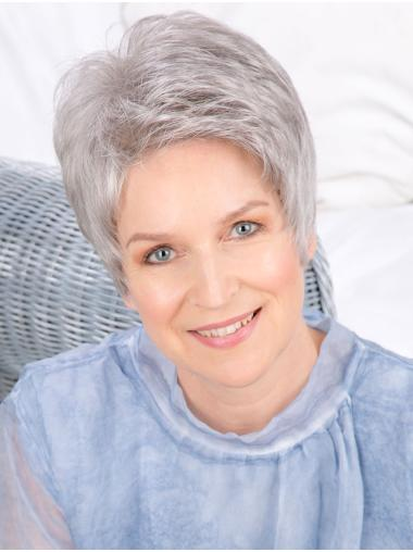 Monofilament Straight 6 Inches Cropped Grey Hair Wig