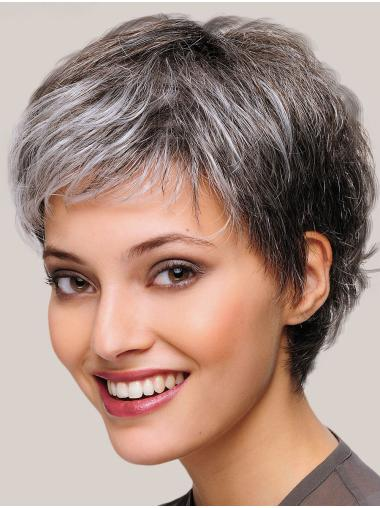 Monofilament Straight 8 Inches Short Womens Grey Wigs