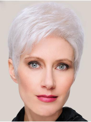 Monofilament Straight 8 Inches Short Grey Ladies Wigs