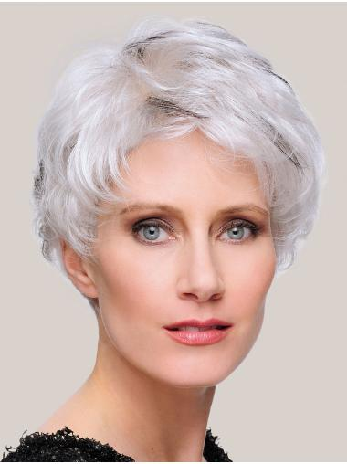 100% Hand-tied Straight 6 Inches Cropped Grey Ladies Wig