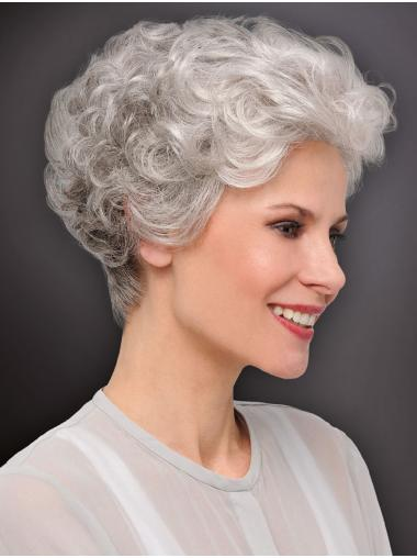 Monofilament Curly 6 Inches Cropped Best Grey Wigs