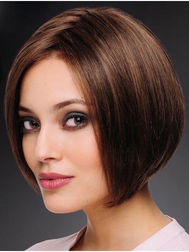 Bobs Chin Length 100% Hand-tied Straight Brown Cheap Human Hair Wigs