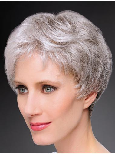 100% Hand-tied Straight 8 Inches Short Wigs Grey