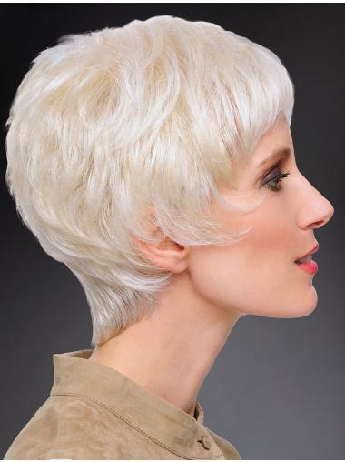 100% Hand-tied Straight 8 Inches Short Grey Fashion Wig