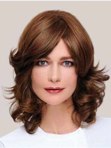 Classic Shoulder Length 100% Hand-tied Wavy Brown Wig Human Hair