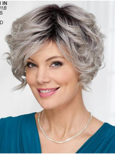 Capless Wavy 8 Inches Short Wigs For Women Grey