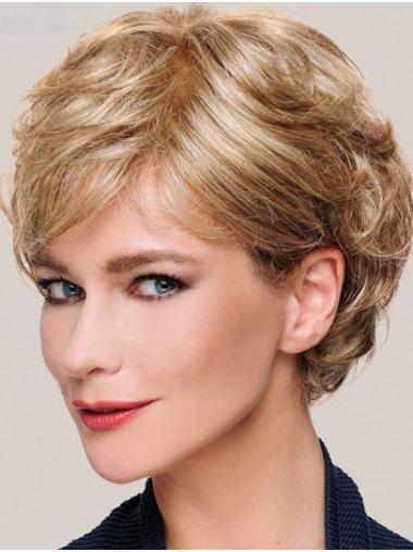 """Monofilament Short 8"""" Blonde Layered Womens Synthetic Wigs"""