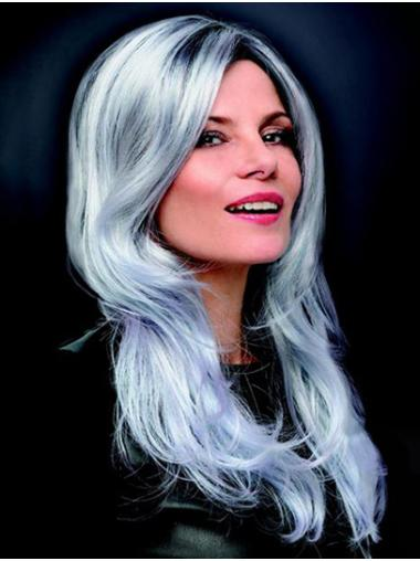 "Monofilament 16"" Long Wavy Grey Best Grey Wigs"