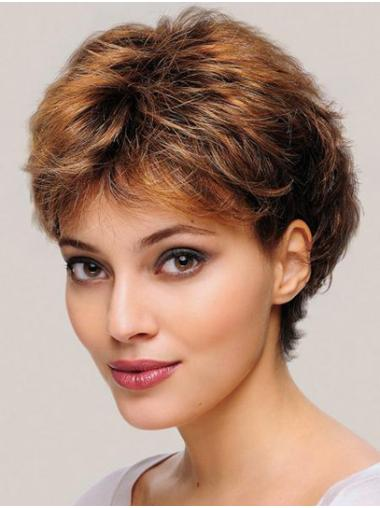 "6"" Wavy Blonde Monofilament Layered Short Wigs For Women"