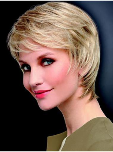"8"" Straight Platinum Blonde Monofilament Layered Short Wigs For Sale"