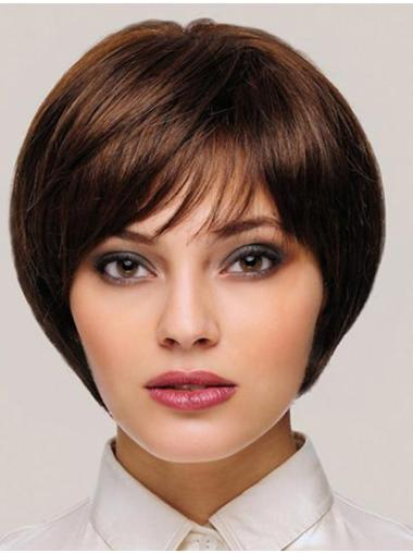 "8"" Straight Brown Monofilament With Bangs Womens Short Wigs"