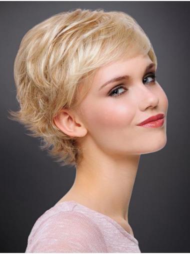 """6"""" Wavy Blonde Monofilament Boycuts Best Short Wigs"""