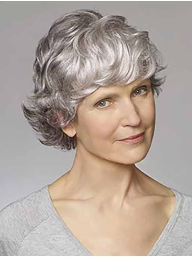 """Synthetic Wavy 8"""" Grey Classic Cheap Monofilament Wigs"""