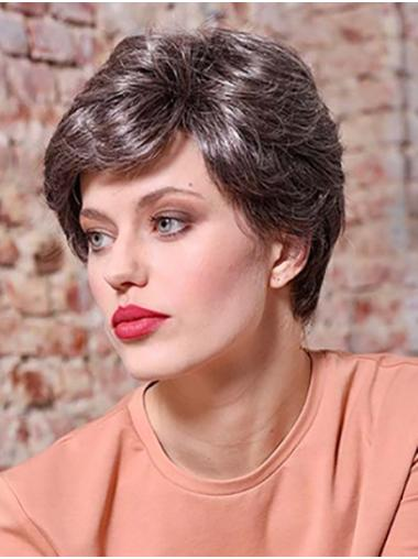 "Short 6"" Layered Brown Wavy Lace Front Wigs For Sale"