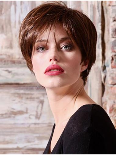 """Short Copper 6"""" Straight Layered 100% Hand-Tied Wig"""